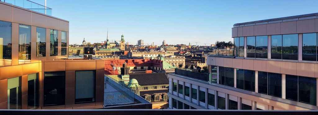 View of Stockholm from a balcony of Spotify HQ